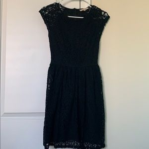 Altar'd State Black Lace Knit Cap Sleeve Dress